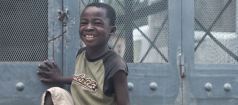 Boy smiling in Haiti