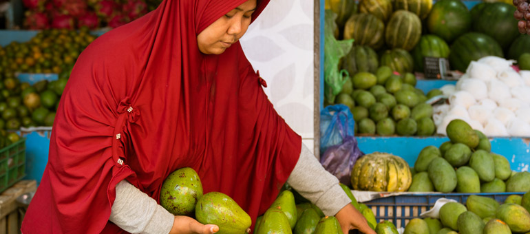 Woman picking avocadoes