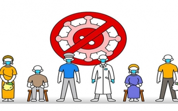 Icon of people standing in front of a covid virus