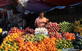 Fruits and vegetables vendor in Bangladesh