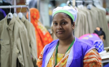 Garments worker smiling to the camera