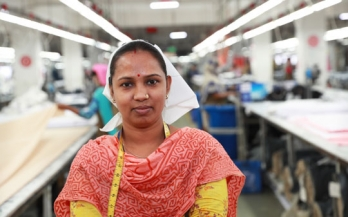 Mala, a quality controller in a garment factory in Bangladesh